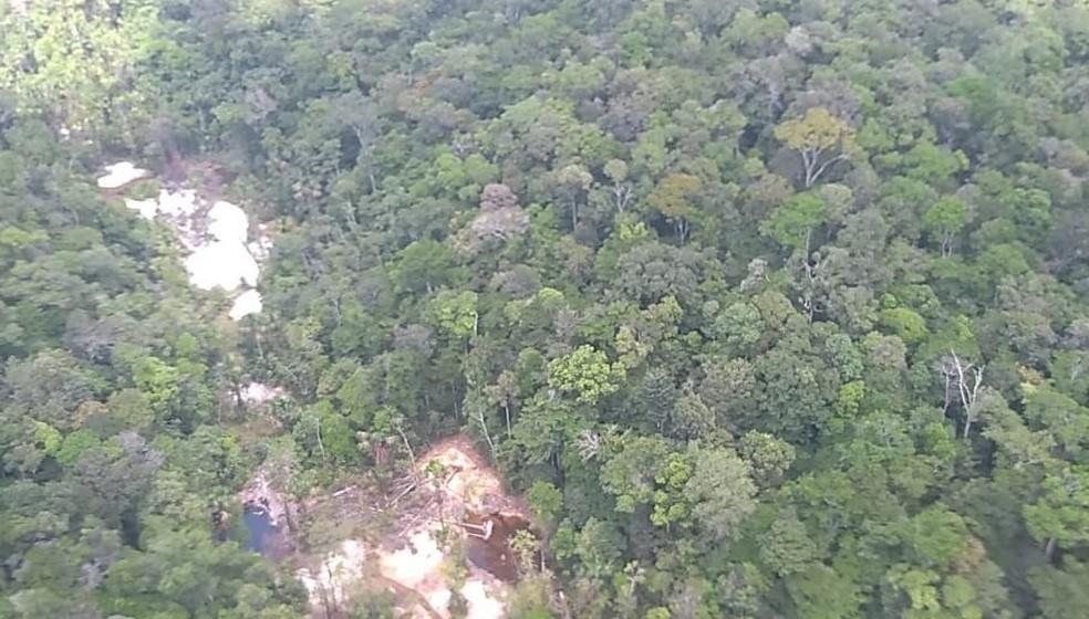 Área desmatada para a realização do garimpo ilegal  — Foto: Divulgação