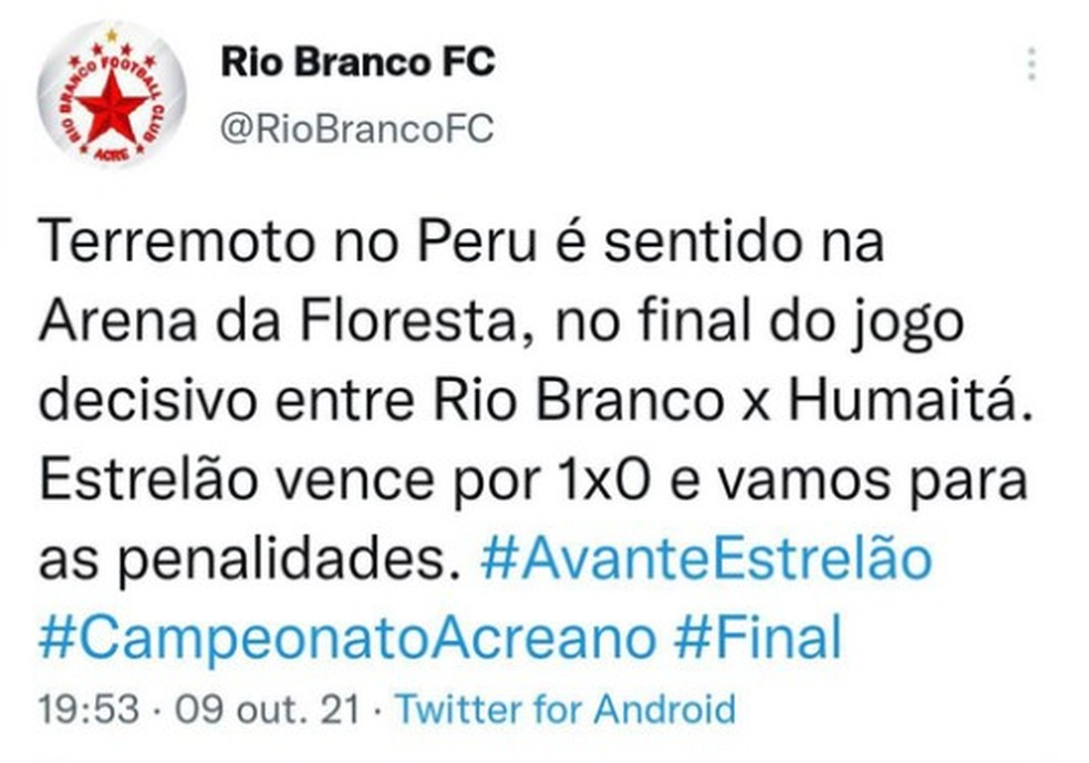 Terremoto foi sentido durante final do Campeonato Acreano — Foto: Reprodução