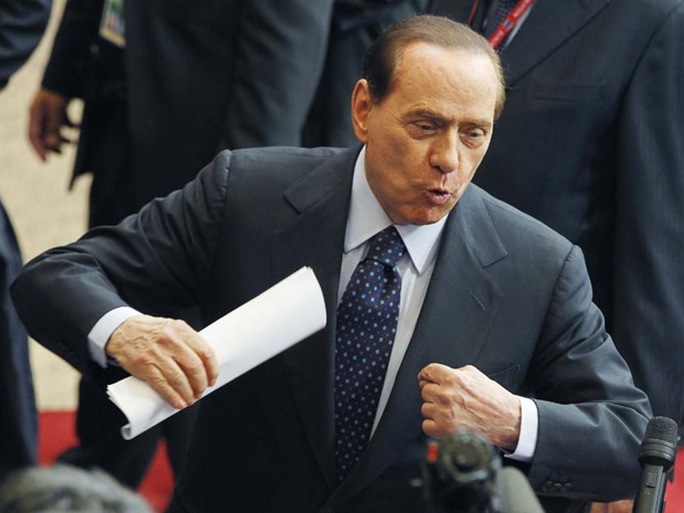 -  Silvio Berlusconi, em imagem de arquivo, quando ainda era premiê italiano  Foto: AP