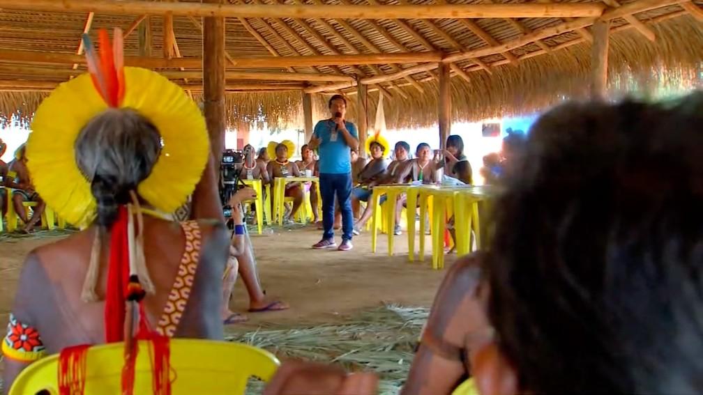 Lideranças indígenas de 47 etnias do país se reuniram no Parque Nacional do Xingu — Foto: TVCA/Reprodução