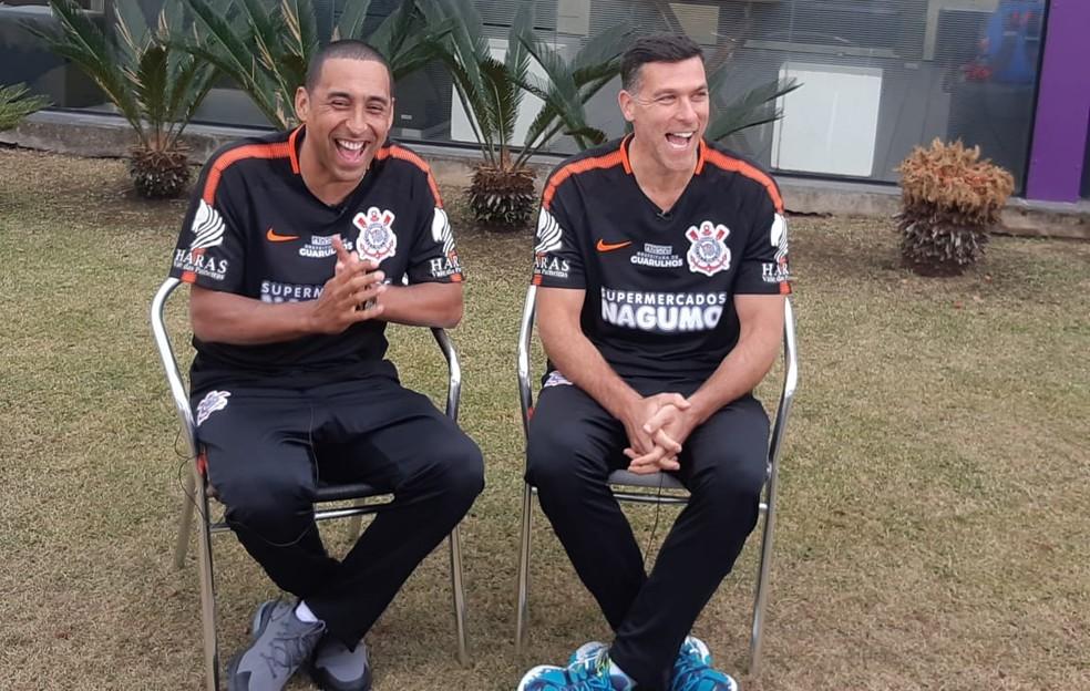 Serginho e Marcelinho, líderes do Corinthians Vôlei — Foto: Marcos Guerra