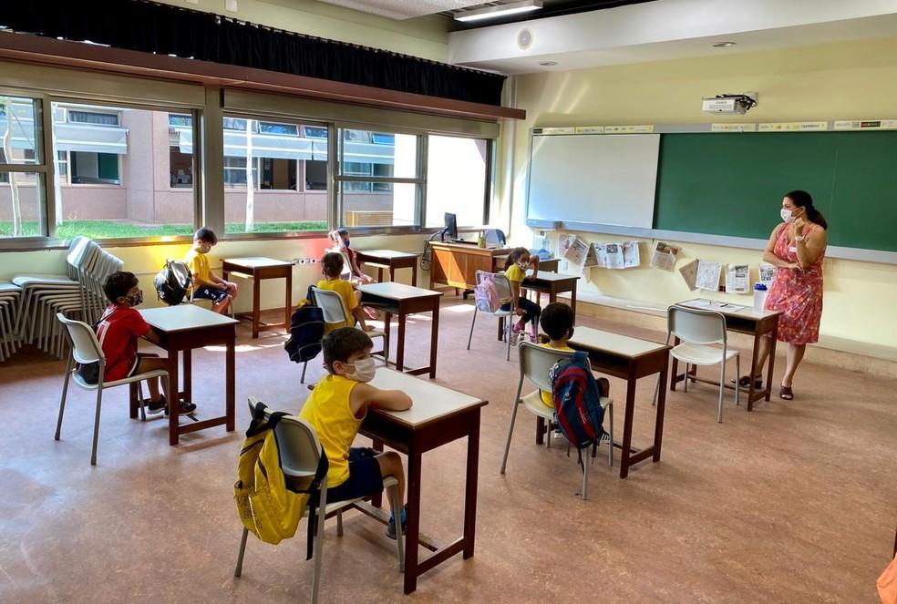 Alunos voltam às aulas no colégio Vera Cruz, em SP, após a pandemia — Foto: Vera Cruz/divulgação