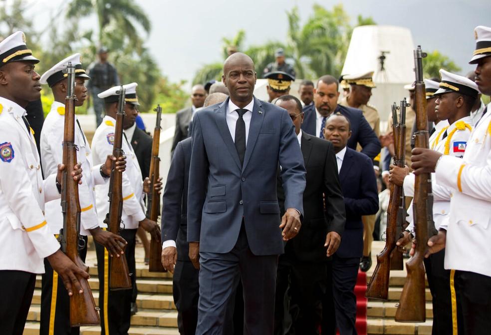 O presidente do Haiti, Jovenel Moise, em uma cerimônia em 2018 — Foto: Dieu Nalio Chery/AP