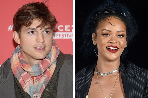 Ashton Kutcher e Rihanna (Foto: Getty Images)