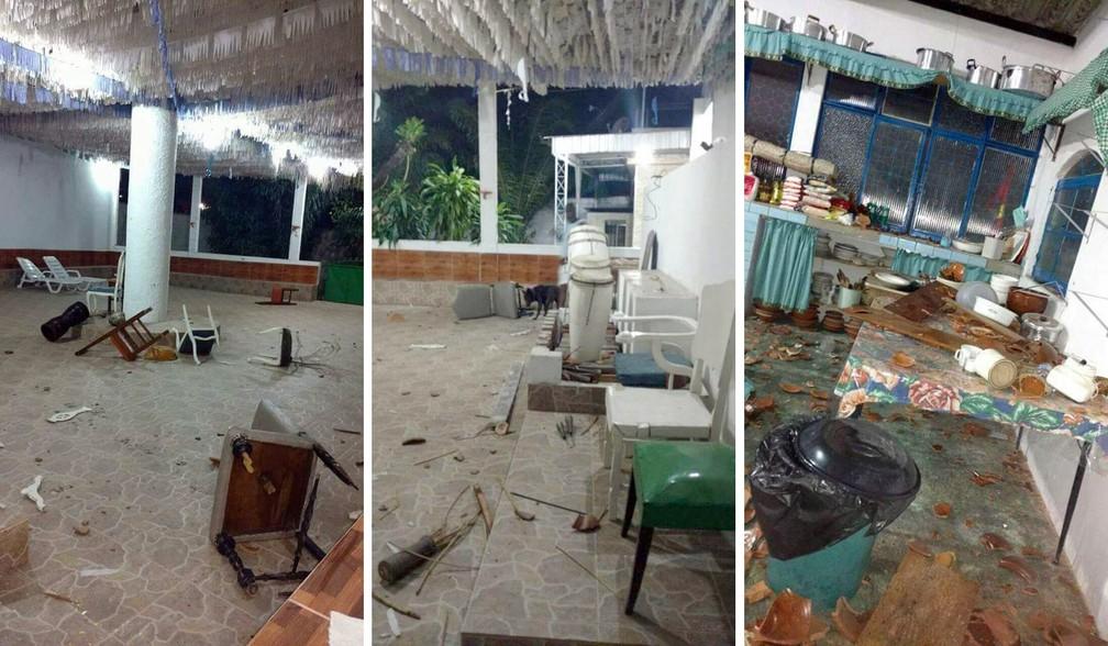 Salão central, atabaques e até a cozinha do terreiro foram destruídos — Foto: Reprodução/TV Globo