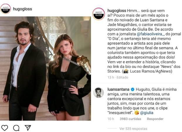 Luan Santana comenta post de Hugo Gloss sobre Giulia Be (Foto: Reprodução/Instagram)