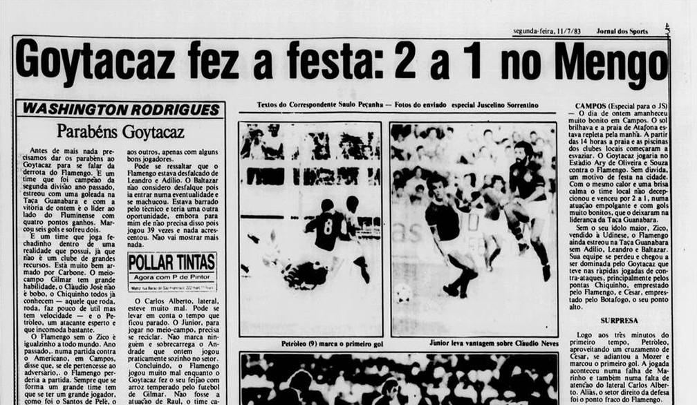 Destaque do Jornal dos Sports na época pouco falou sobre o gol de Bebeto na vitória do Goytacaz sobre o Flamengo  — Foto: Reprodução