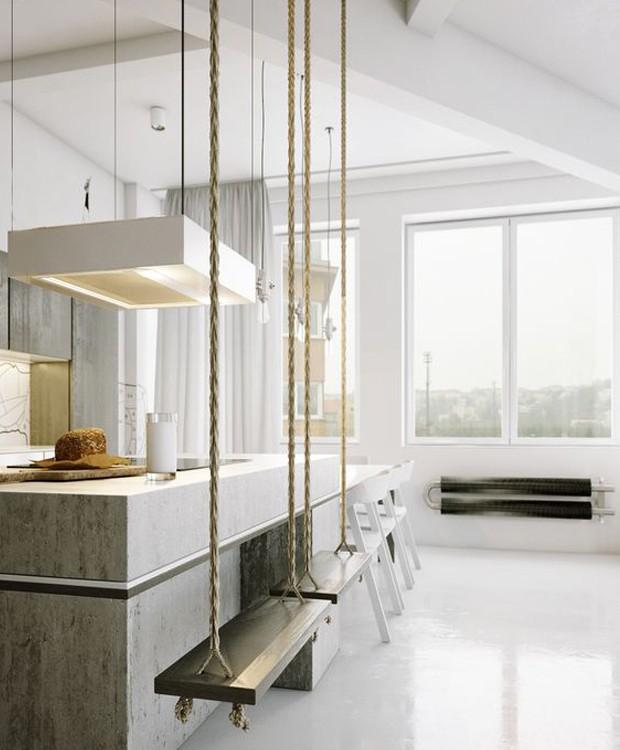 Mesmo em ambientes modernos e minimalistas, os balanços ficam bem (Foto: Pinterest/ Reprodução)