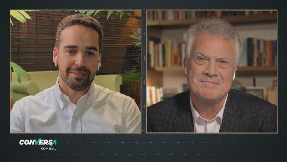 Atual governador do Rio Grande do Sul conversa com Pedro Bial — Foto: Reprodução/TV Globo