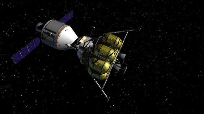 Para chegar até a Lua, a Nasa projeta uma cápsula semelhante à Apollo, mas três vezes maior - com capacidade para quatro astronautas (Foto: NASA)