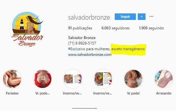 Clínica de bronzeamente de Salvador discrimina transgêneros (Foto: Reprodução/Instagram)