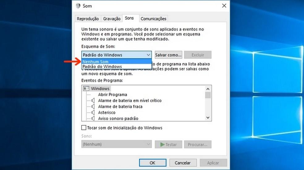 Escolha do esquema do Windows sem nenhum som de efeito (Foto: Reprodução/Raquel Freire)
