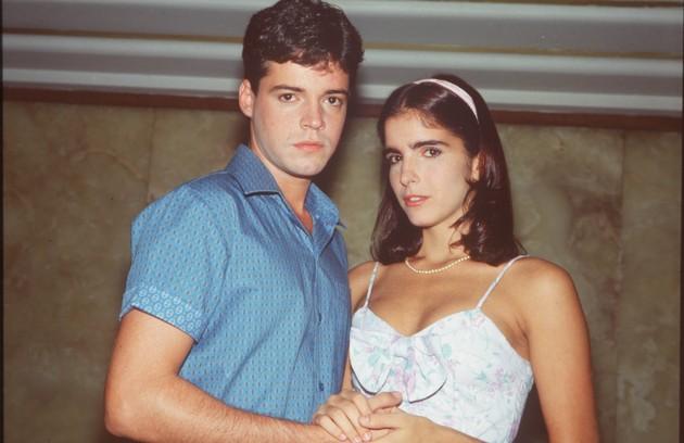 Malu Mader com Felipe Camargo em 'Anos dourados' (1986) (Foto: Divulgação)