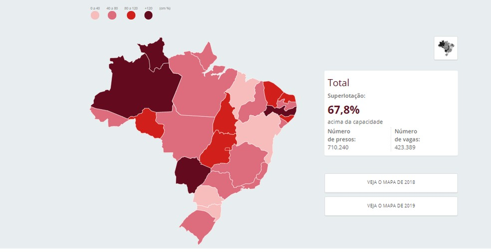 Mapa do mostra superlotação de presos no país  — Foto: Reprodução