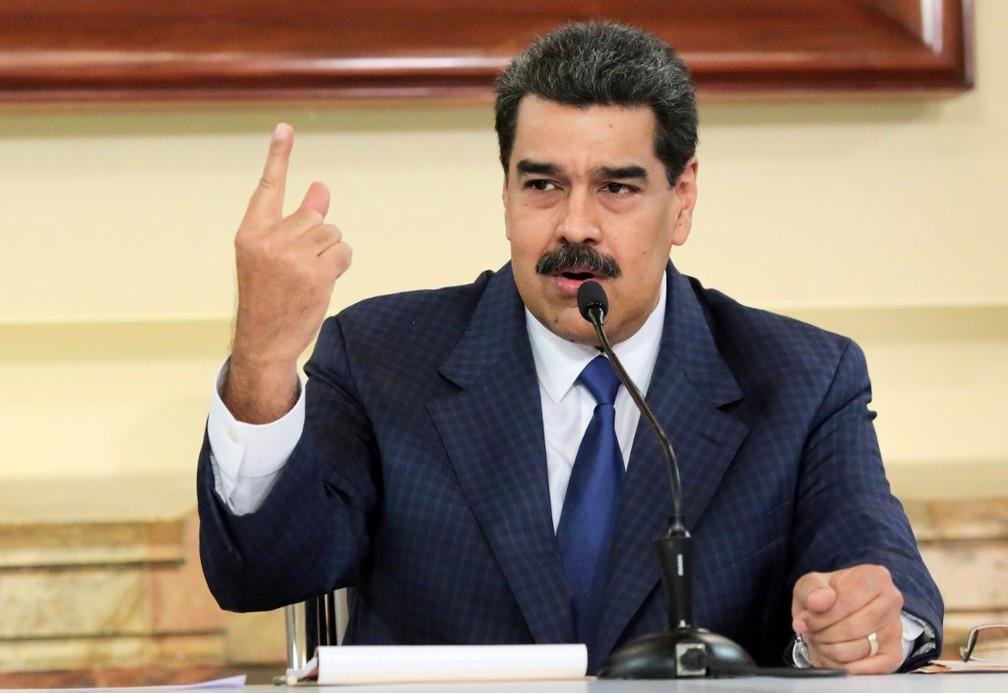 Nicolás Maduro durante reunião com autoridades do chavismo no Palácio de Miraflores, em Caracas, na segunda-feira (9) — Foto: HO/Venezuelan Presidency/AFP