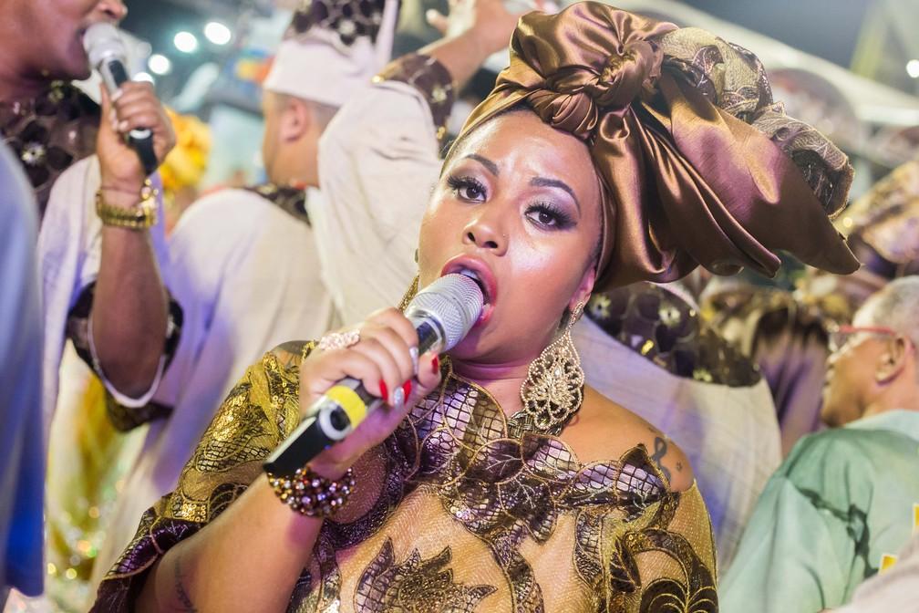 Grazzi Brasil é cantora da Paraíso do Tuiuti, no Rio, pelo segundo ano. Ela também canta na Vai-vai, em São Paulo — Foto: Ewerton Pereira/ Paraíso do Tuiuti