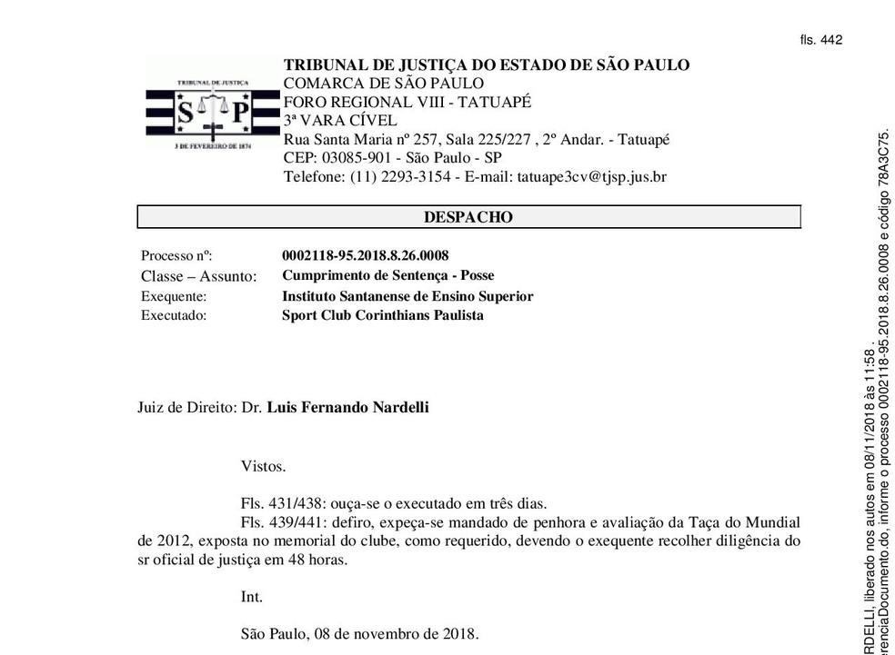 Decisão Corinthians Penhora Mundial 2012 — Foto: Reprodução