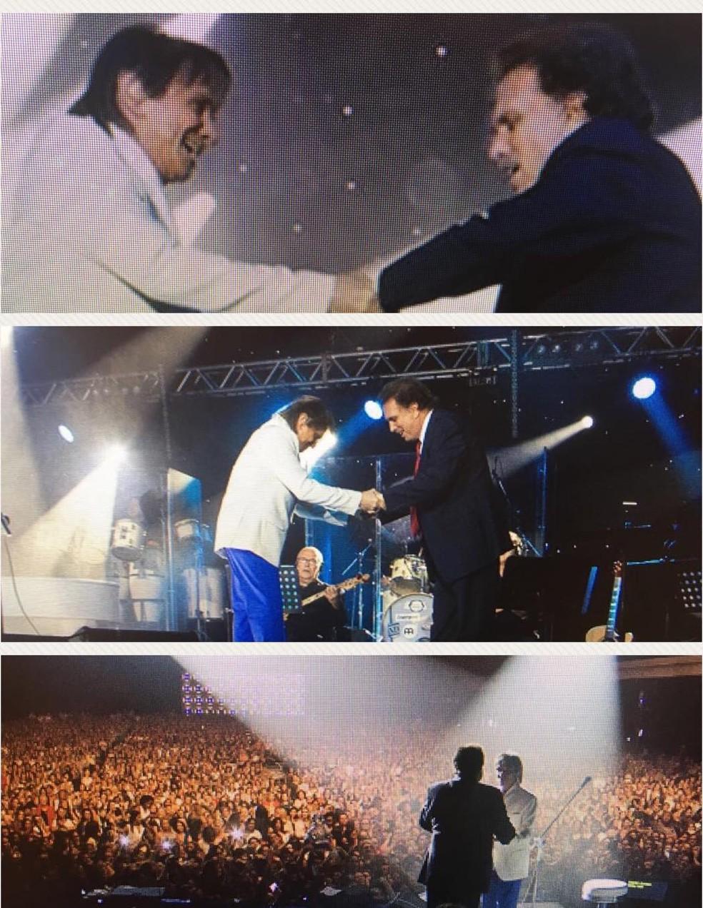 Eduardo Lages em momentos de sua parceria de 42 anos com Roberto Carlos — Foto: Reprodução/Instagram