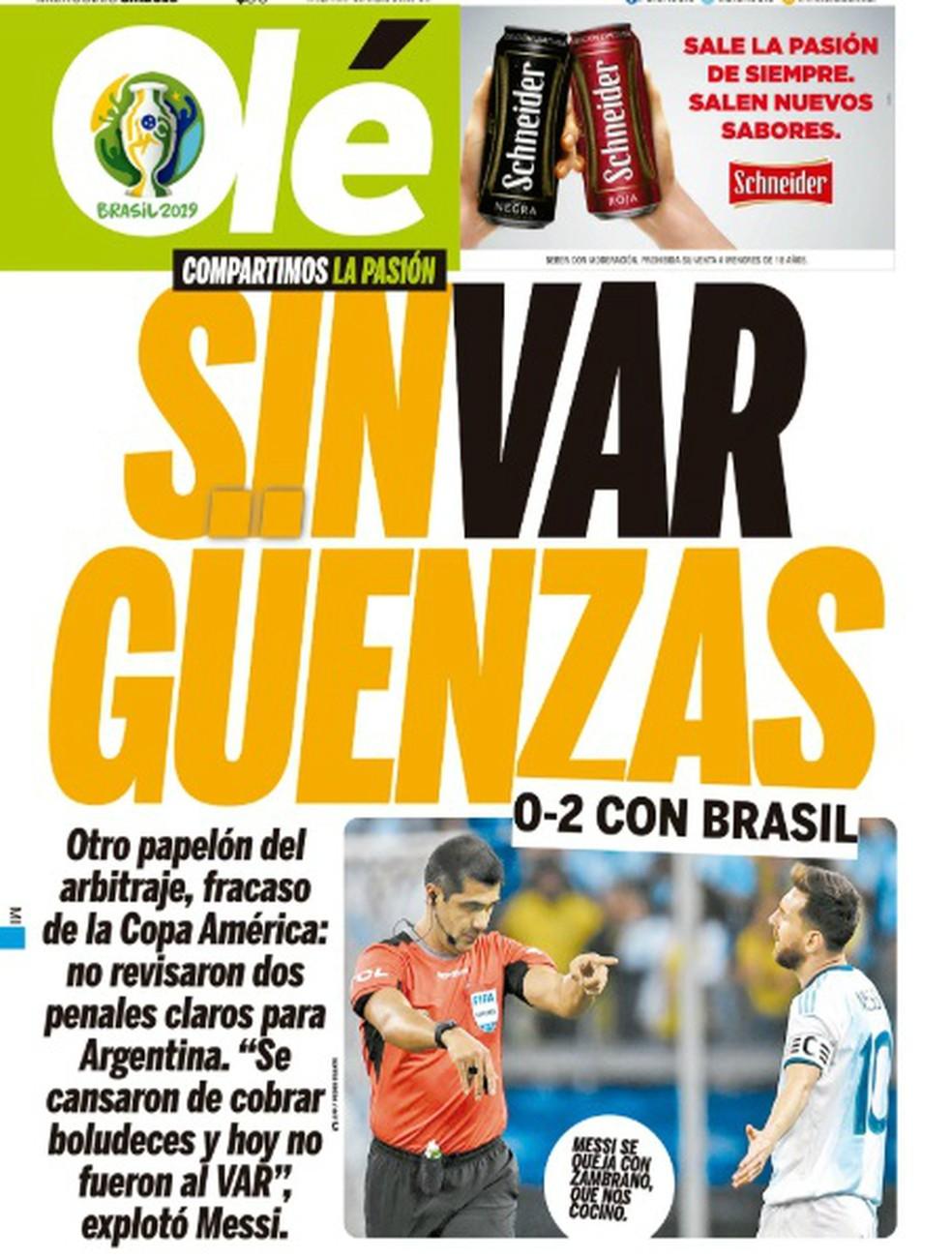 Diário Olé Brasil 2 x 0 Argentina — Foto: Reprodução