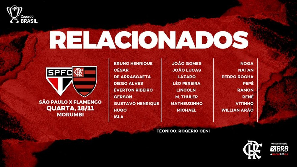 Os relacionados do Flamengo para o jogo contra o São Paulo — Foto: ge