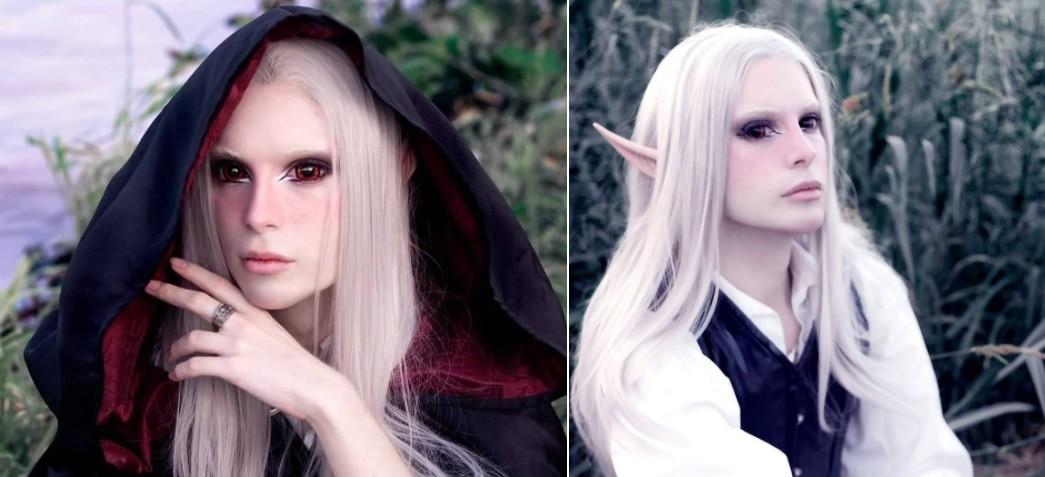 O visual mais recente: orelhas de elfo e cabelo de vampiro