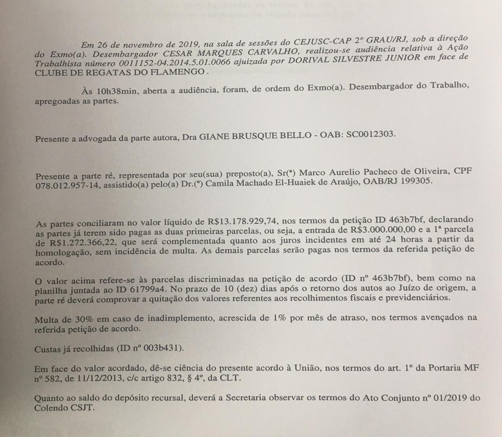 Acordo Flamengo e Dorival Junior — Foto: reprodução
