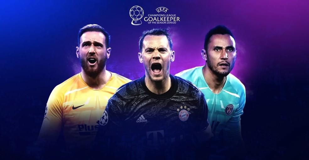 Oblak, Neuer e Navas concorrem ao prêmio de melhor goleiro da Champions 2019/20 — Foto: Divulgação / Uefa