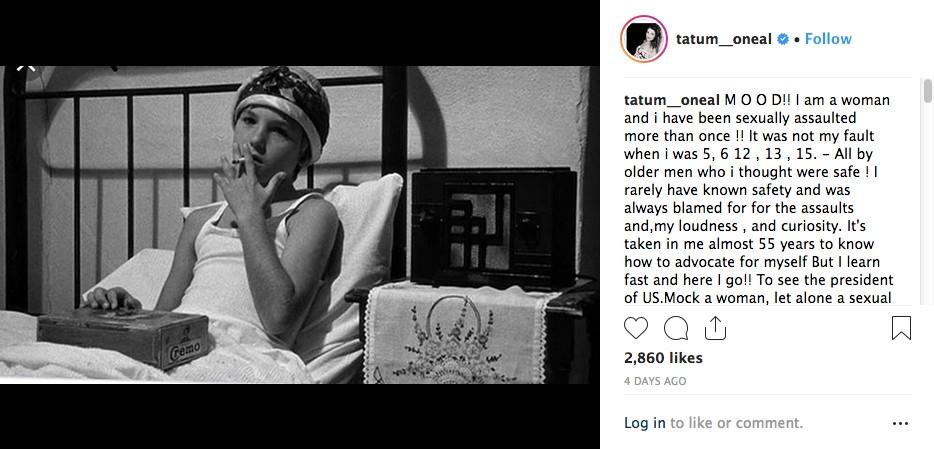 O post no qual a atriz Tatum O'Neal revelou ter sido vítima de abuso sexual (Foto: Instagram)