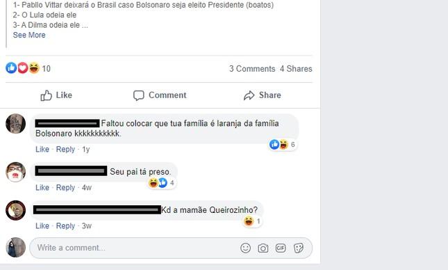 Comentários em postagem do filho de Queiroz