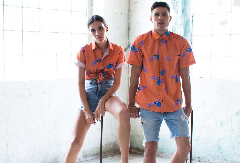 Marca de roupas mostra que a mesma camisa pode ser usada por homens e mulheres (Foto: Fagner Damasceno/Sueka/Divulgação)