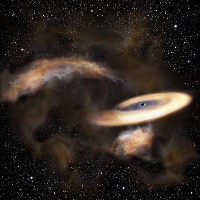 Representação artística de uma nuvem de gás que gira ao redor de um buraco negro (Foto: NAO)