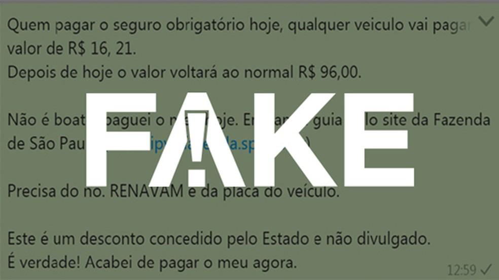f69d563d7 ... Mensagem  FAKE fala em desconto para pagamento antecipado de DPVAT —  Foto  G1