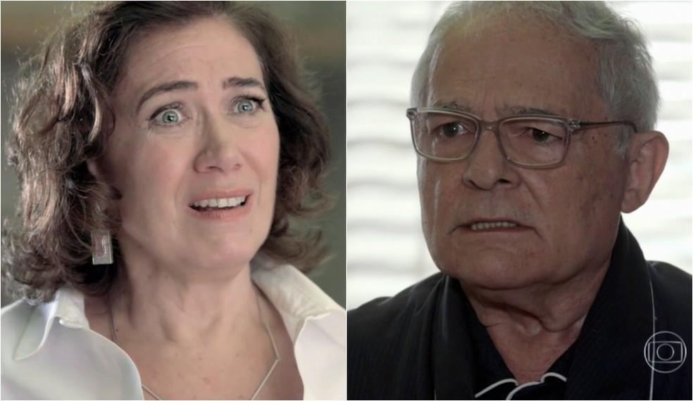 Maria Marta (Lilia Cabral) e Silviano (Othon Bastos) se desesperam com segredo descoberto - 'Império' — Foto: Globo