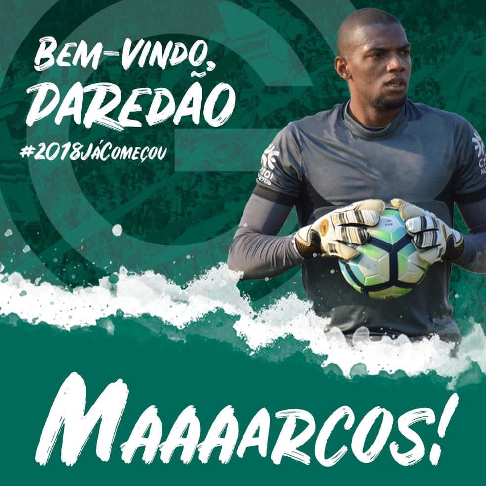 ... Goiás oficializa contratação do goleiro Marcos — Foto  Divulgação    Goiás E. C. 7652cf0d40b18