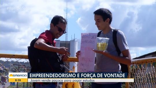 Estudante vende paçoca para pagar estudos e abrir empresa, em Valparaíso de Goiás