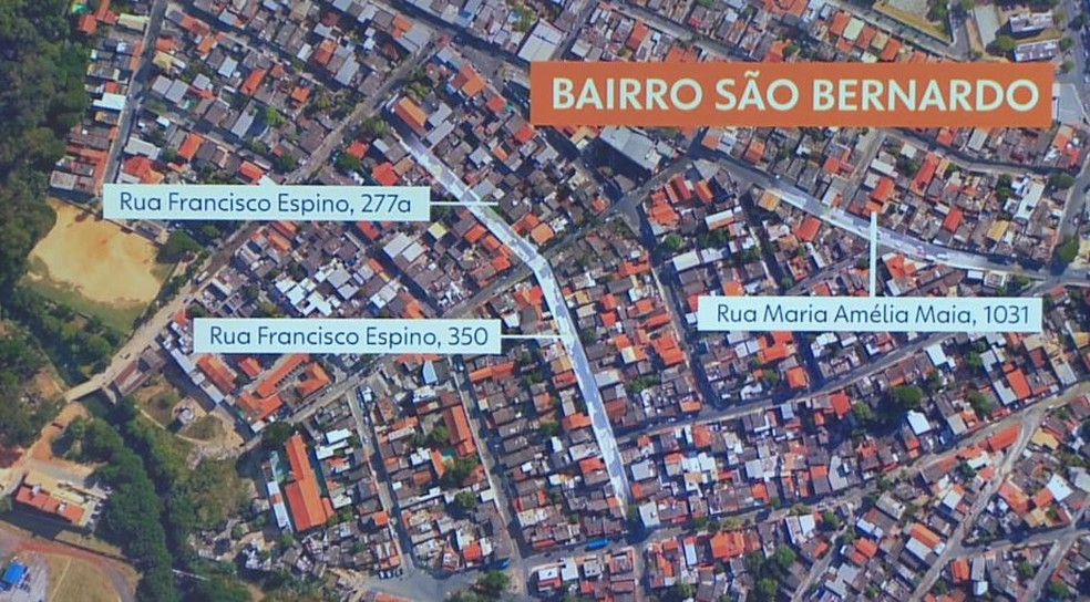 Locais onde foram feitas as buscas no bairro São Bernardo, em Belo Horizonte — Foto: Arte/TV Globo