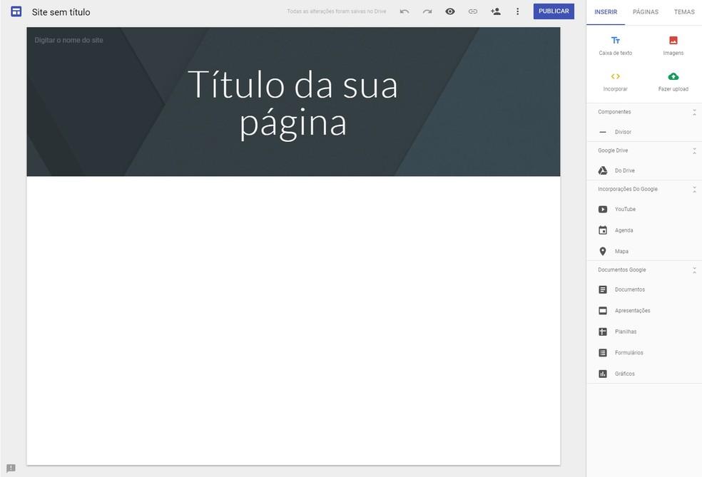 6841de1f79 ... Google Sites  plataforma permite criar sites gratuitamente — Foto   Reprodução Aline Batista