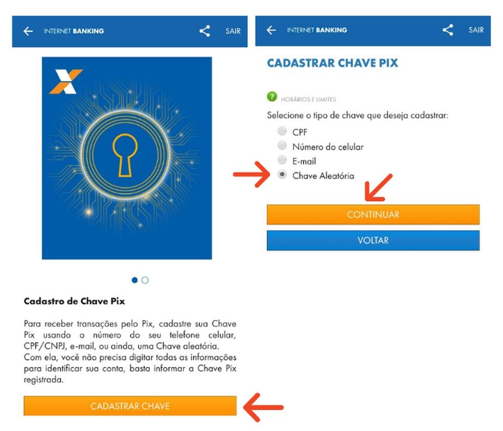 Cadastrar chave Pix no aplicativo da Caixa — Foto: Reprodução/Lívia Dâmaso