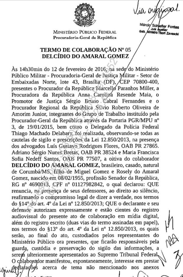 Termo de colaboração assinado por Delcídio pg 1 620px (Foto: Reprodução)