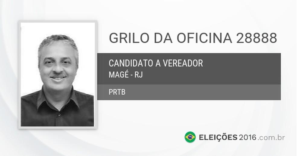 Ficha de Grilo como candidato a vereador de Magé; segundo sócio, Nilson Gonçalves o apoiou em campanha (Foto: Reprodução)