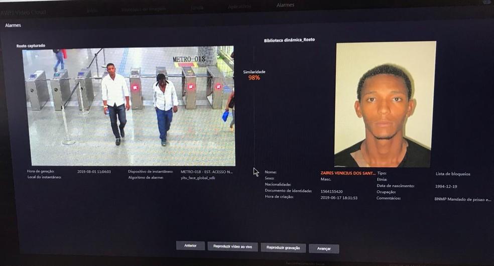 Zaires foi preso em uma estação de metrô em Salvador, nesta quinta-feira (1º) — Foto: SSP/ Divulgação