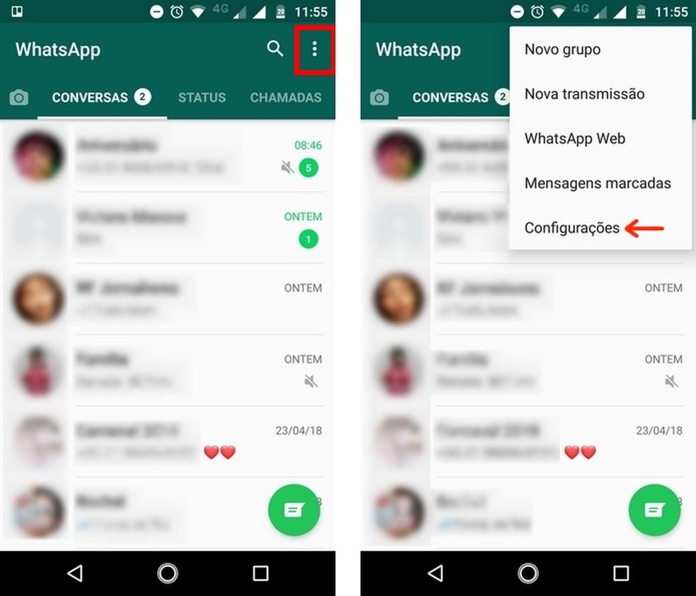 Caminho para configurações do WhatsApp Beta (Foto: Reprodução/Raquel Freire)