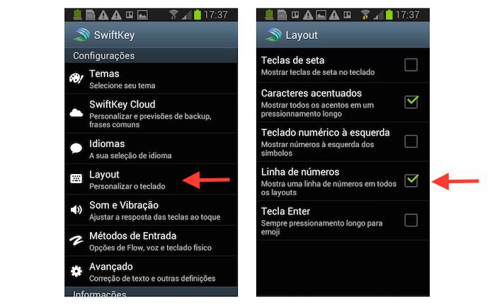 Adicionando a linha de números ao layout do SwiftKey para Android (Foto: Reprodução/Marvin Costa)