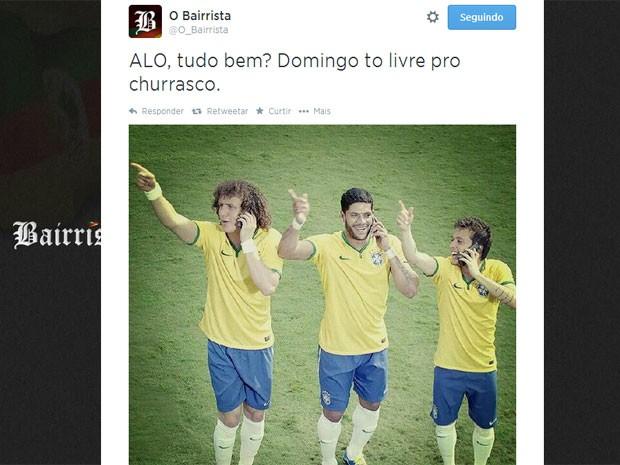 Usuário brinca dizendo que Brasil estará livre no domingo para um churrasco (Foto: Reprodução/Twitter)
