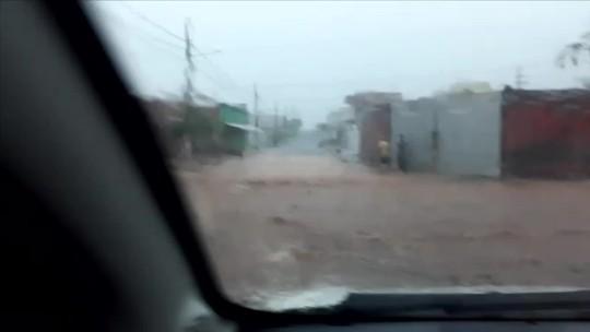 Chuva provoca alagamentos e prejuízos em Jaciara (MT)