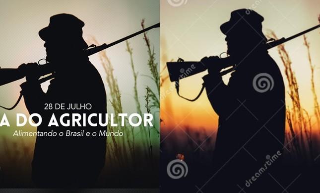 Publicação da Secom (à esq.) e imagem de caçador disponível em banco de imagens (à dir.)