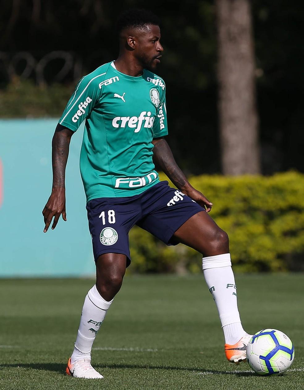Ramires, em treino pelo Palmeiras, na Academia de Futebol — Foto: Cesar Greco/Ag. Palmeiras