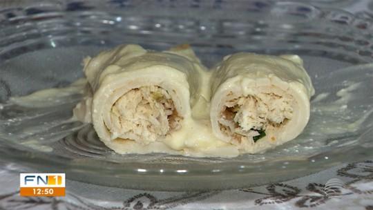 Dona de casa ensina a receita de panqueca de frango com molho branco