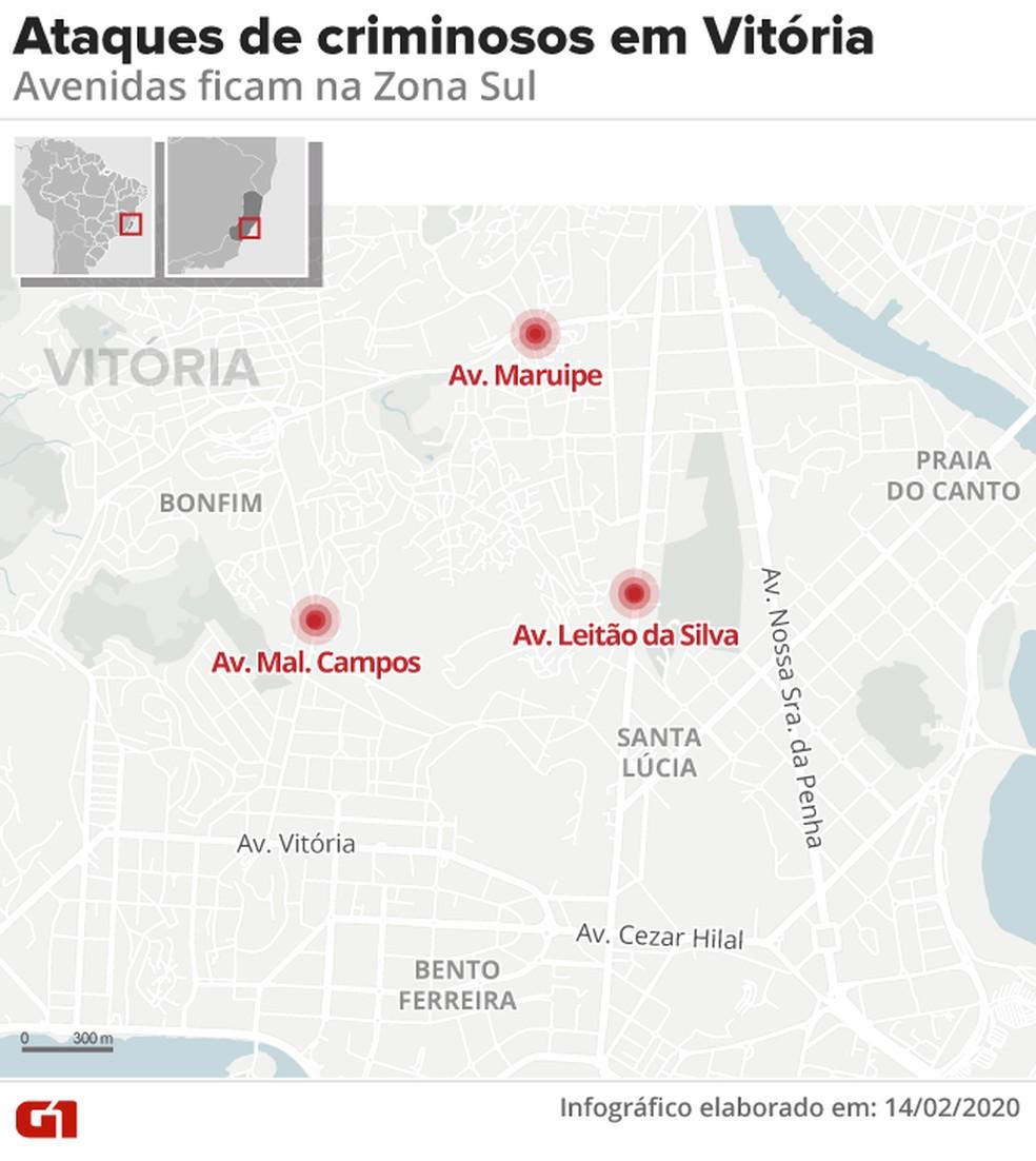 Ataques em Vitória — Foto: Juliane Monteiro/G1
