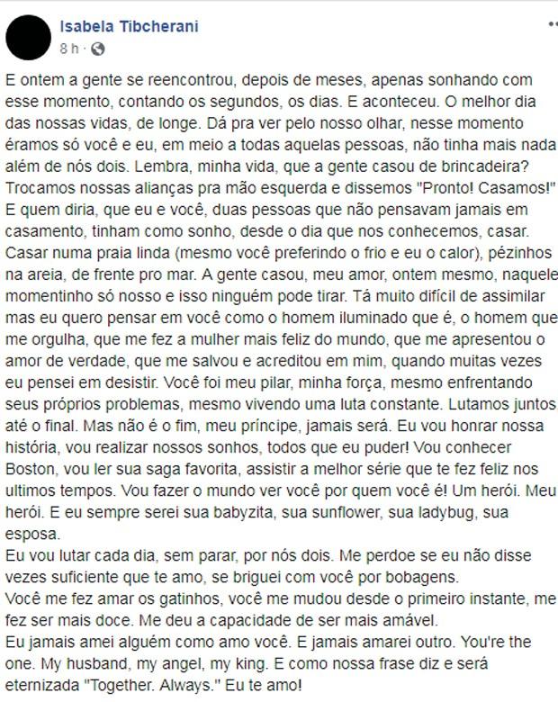Isabela Tibcherani fala sobre Rafael Miguel em post (Foto: Reprodução/Facebook)